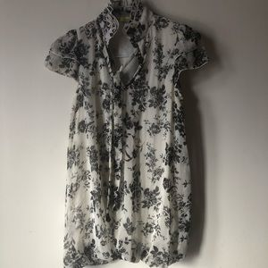 ❤️Black and White Floral Short Sleeve Minidress